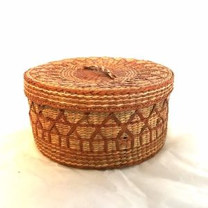 Chinese Grass Woven Basket Vintage